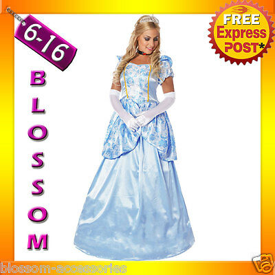 B61 Deluxe Cinderella Princess Costume Fairy Tale Fancy Dress Ball Gown