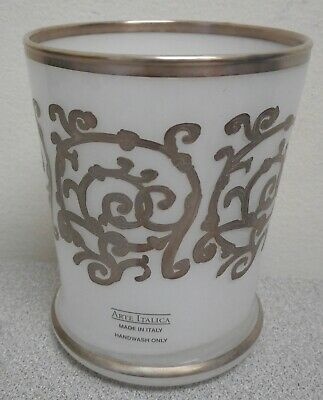 Arte Italica whiteTumbler w/Silver Accents NEW IN BOX