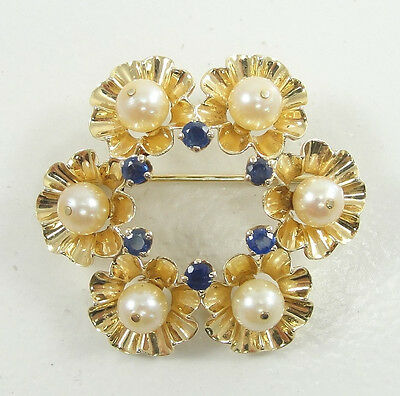 """14K Solid Yellow Gold Flowers Design Pearls Sapphire Round Pin Brooch 1 1/4"""""""