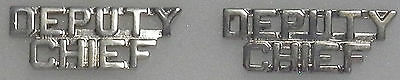 """DEPUTY CHIEF 1/4""""  Silver Letters Pair Collar Pins Rank Insignia (police/fire)"""