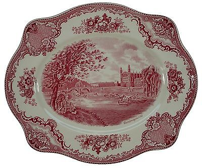 JOHNSON BROTHERS china OLD BRITAIN CASTLES PINK Crown Stamp OVAL MEAT PLATTER 11