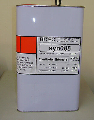 Synthetic Thinner 5L For Paint And Primer 5 Litre Fast Air Dry Thinners FP