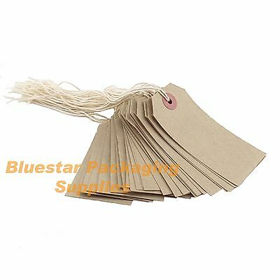 100 x Quality Strung Brown Price Tags 54mm x 29mm