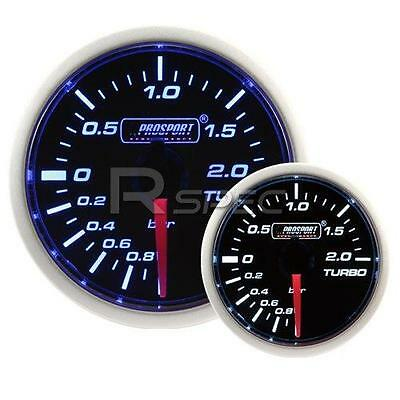 Prosport 52mm Super Smoked Blue / White Turbo Boost BAR gauge