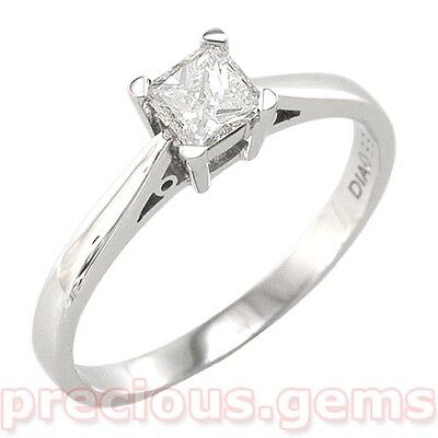 18ct White Gold 0.33ct Princess Cut Natural Diamond Solitaire Ring