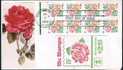 1978 Rose Booklet Pane 15c With Cover FDC Sc1737a Pictorial Cachet