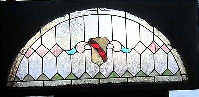 ~ ANTIQUE AMERICAN STAINED GLASS TRANSOM WINDOW 52 x 24 ~ ARCHITECTURAL SALVAGE