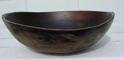 Rare Huge Hand Turned American Mohawk Valley Dough Bowl c1800 Single Wood Block