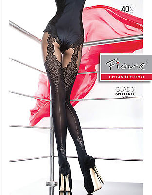 "Fiore ""GLADIS"" Patterned Tights 40 Denier Mock Suspender Tights"