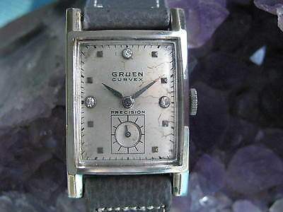 Gruen Curvex Vintage White Gold Deco Wrist Watch, Diamond dial