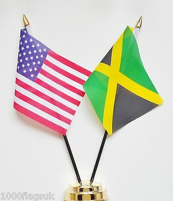 United States of America & Jamaica Double Friendship Table Flag Set