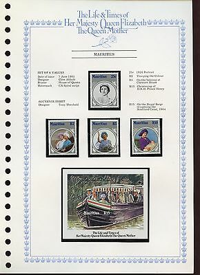 Mauritius 1985 Queen Mother MNH Set + M/S On Page #V425