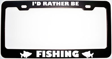 I/'D RATHER BE CYCLING Metal License Plate Frame Tag Border Two Holes