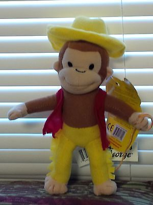 CURIOUS GEORGE AS A FARMER YELLOW HAT WITH RED VEST 9 INCH PLUSH DOLL