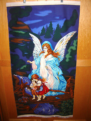 Fabric Fabri-Quilt  GUARDIAN ANGEL WITH KIDS ON THE BRIDGE FAMOUS PAINTING