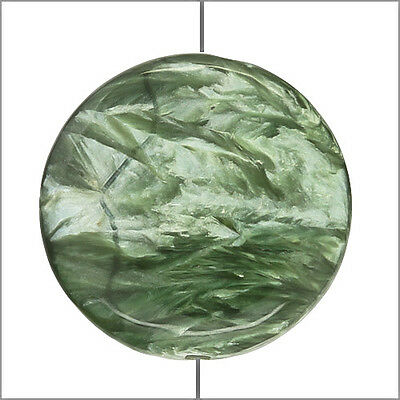 Large Seraphinite Flat Round Coin Disc Pendant Bead 25mm 1pc #86145