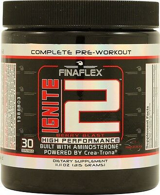 Ignite2 Berry Blast by FinaFlex - Complete Pre-Workout Supplement (30 Servings)