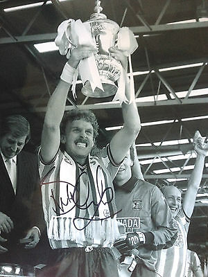 Brian Kilcline - Coventry City Legend  - Signed B/W Cup Winning Photograph