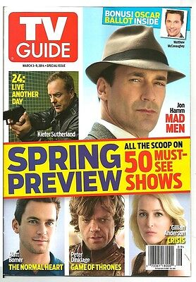 2014 TV Guide Spring Preview Jon Hamm Mad Men Gillian Anderson Thrones 24 Cover!