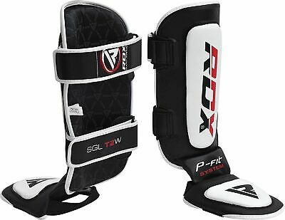 RDX Leather Gel Shin Instep Pads MMA Leg Foot Guards Muay Thai Kick Boxing UFC A