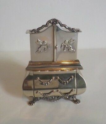 RARE VINTAGE DUTCH .833 SILVER MINIATURE DOLL HOUSE ARMOIRE w/ EMBOSSED CHERUBS