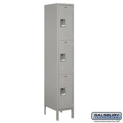 "Extra Wide Standard Metal Locker Triple Tier 1 Wide 6' High 18"" Deep Gray NEW"