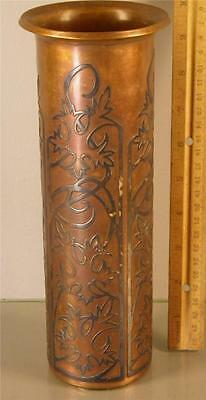 Antique Arts & Crafts Bronze Sterling Silver Inlay Vase #3524 10'' High