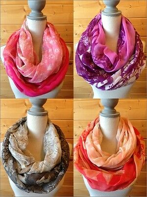 USA Seller!!!  Floral Infinity Scarves Scarf Spring Colors Light Weight NEW