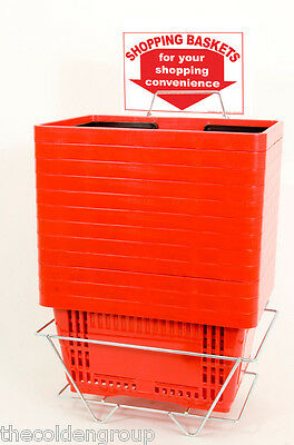 12 Standard Shopping Baskets - Plastic Handles - Metal Stand and Sign - Red