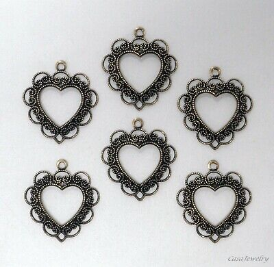 #0274 ANTIQUED GOLD OPEN LACY HEART W/TOP HANG RING - 6 Pc Lot
