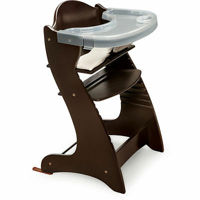 NEW Badger Basket Embassy Wood Baby High Chair Espresso Wooden with Tray