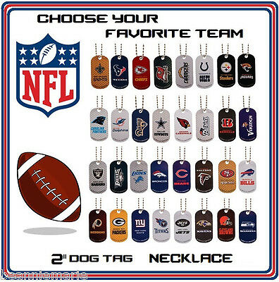 """NFL vending 2"""" dog tag necklace  ~ you choose the team(s) that you want"""