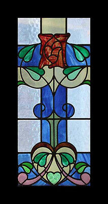 The Very Best Art Nouveau Rose English Antique Stained Glass Window