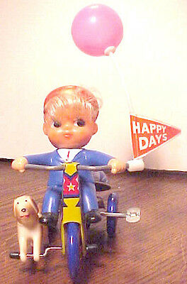 VINTAGE MECHANICAL BOY & DOG TIN WIND UP TRICYCLE TOY,  VERY GOOD COND., KOREA