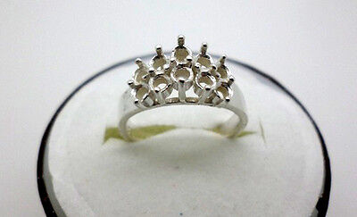 Ladies 10-Stones Step Cluster Sterling Silver Pre-Notched Ring Serting Size 7
