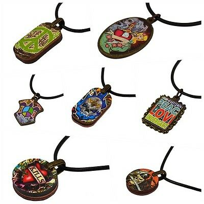 1pcs Handmade variety picture wood pendants, black leather Necklace for friends