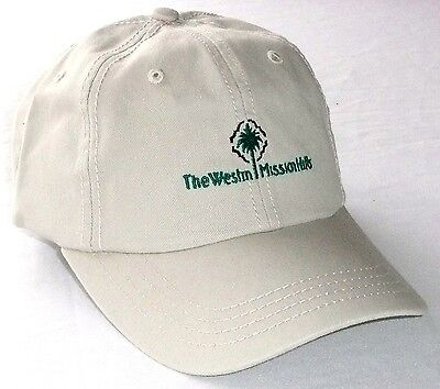 THE WESTIN MISSION HILLS GOLF HAT Beige Cap Troon Cotton Adjustable >NEW<