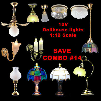 12pcs Electrified lamps 12V lights for dollhouse 1:12 scale , combo #14 SAVE NEW