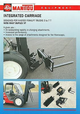 1998 Manitou Masted Forklift Trucks Integrated Carriage Sales Sheet