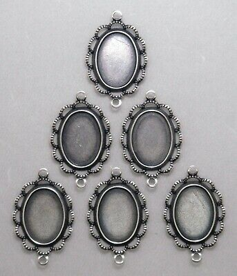 #4019 ANTIQUED SS/P 14x10 BEZEL W/RAISED LACE BORDER & 2 RINGS - 6 Pc Lot