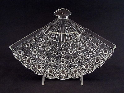 L. G. Wright Glass Daisy & Button Pattern Large Fan Tray in Crystal Glass