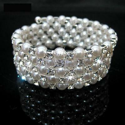 Wedding Bridal Pearl Crystal Rhinestone 5 Rows Elastic Bangle Bracelet Wristband