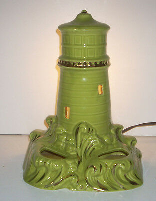 "Large Vintage 11.5"" Mid Century Lighthouse TV Lamp Chartreuse Green 50s Retro"