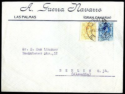 SPAIN TO GERMANY LAS PALMAS Cancel on Cover 1922 w/Advertising VF