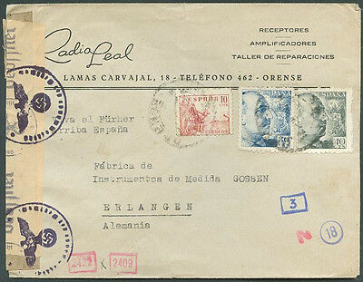 SPAIN TO GERMANY Old Censored Cover w/Advertising VF