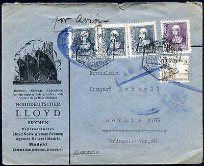 SPAIN CIVIL WAR TO GERMANY Cover w/Advertising VF