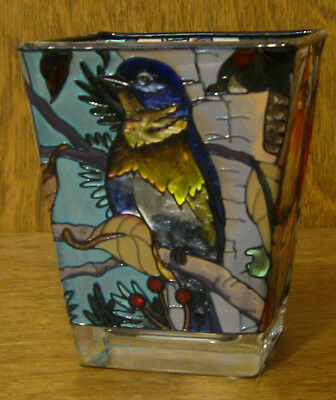 """Amia Studios Votive #6067 BIRDS, NEW/Box From Retail Store, 3"""" Hand Painted"""