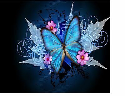 Fantasy Blue Butterfly Floral Image Home  Decor Computer Mouse Pad 9 X 7