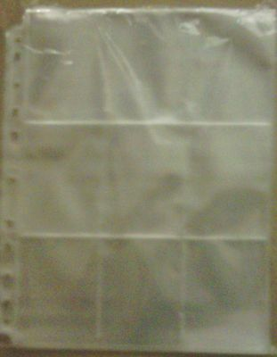 Trading Card Multi Punched 9 section Clear plastic Sleeves (Pk of 10)