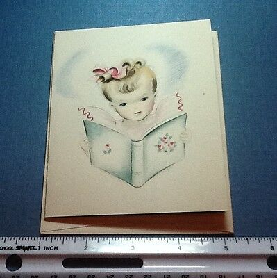 #C289- Vintage Unused Norcross Blank Greeting Card Girl In Pink Reading Book